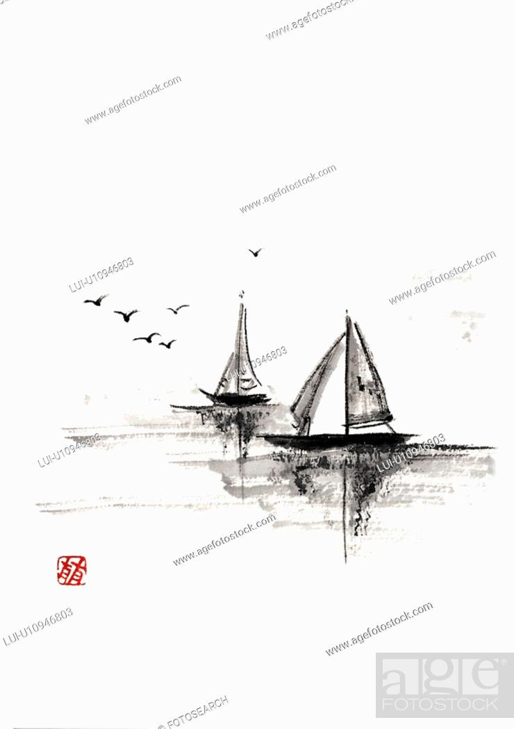 Stock Photo: Two sailboats on the sea, ink brush painting, white background, cut out, copy space.