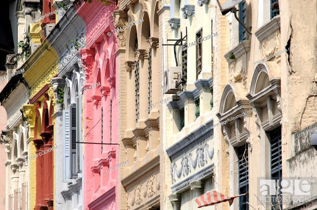 Stock Photo: old shophouses, Chinatown, Kuala Lumpur, Malaysia.