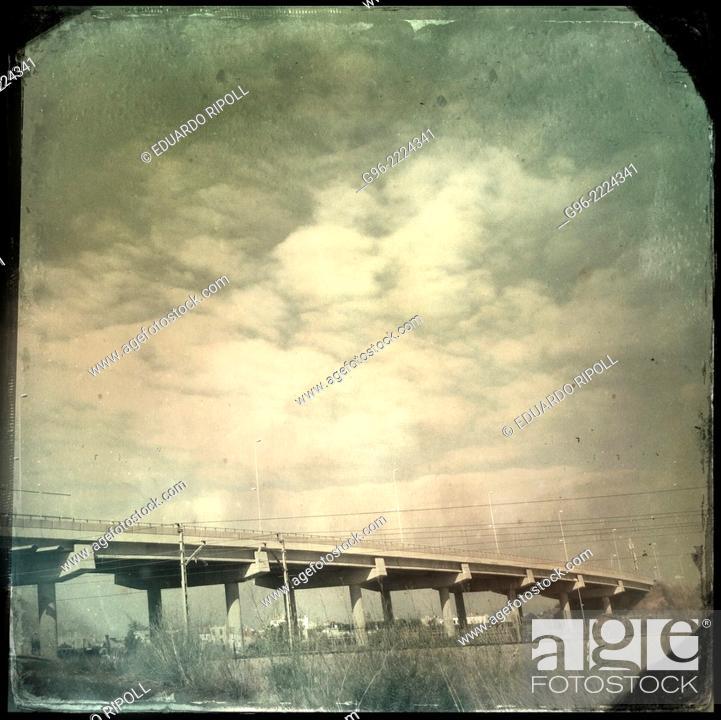 Stock Photo: bridge on the road, smart phone, shot.