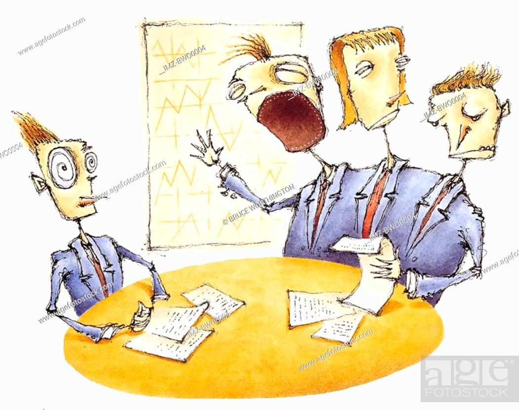 Stock Photo: A businessman in a meeting with three headed board member.