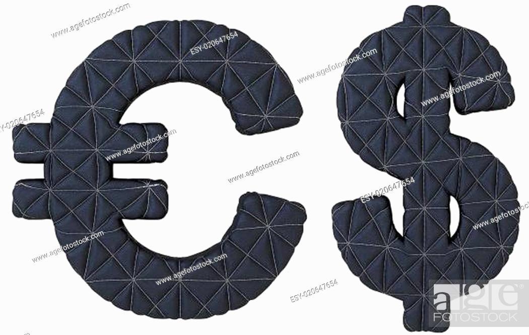 Stock Photo: Stitched leather font euro and dollar symbols.