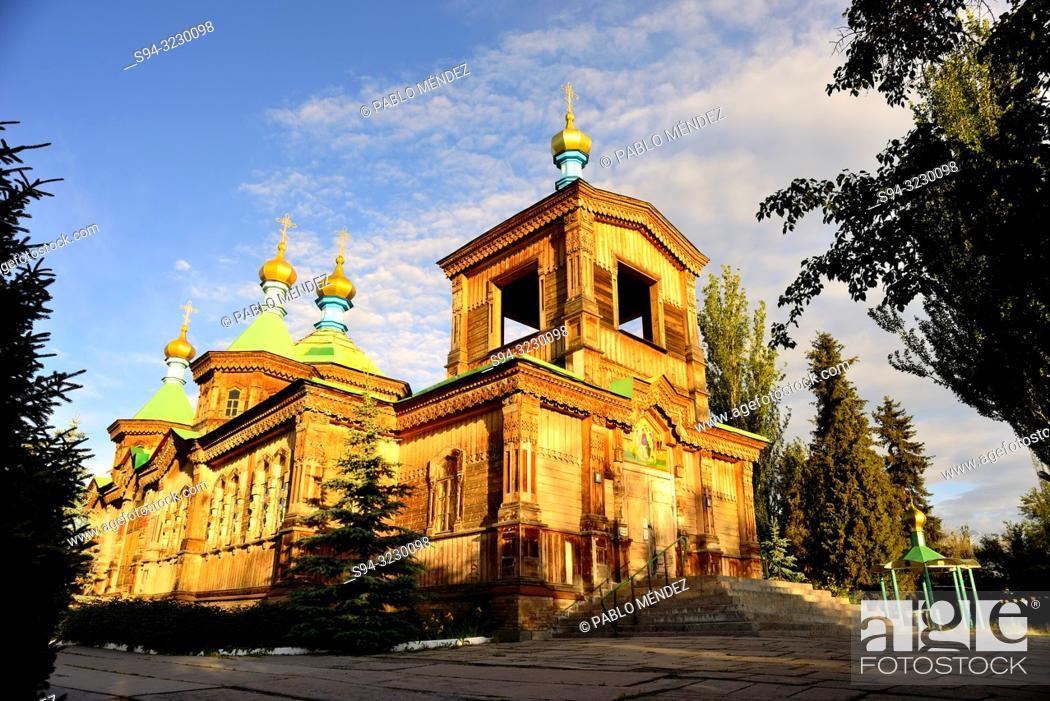 Stock Photo: Cathedral of the Holy Trinity of Karakol, Kyrgyzstan.
