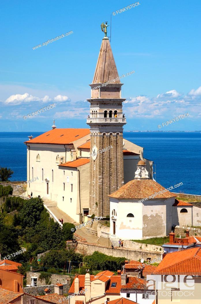 Stock Photo: St George Church  Piran , Slovenia.