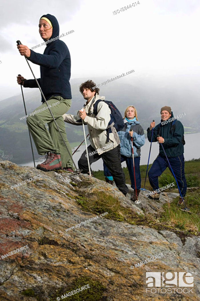 Stock Photo: Four hikers.