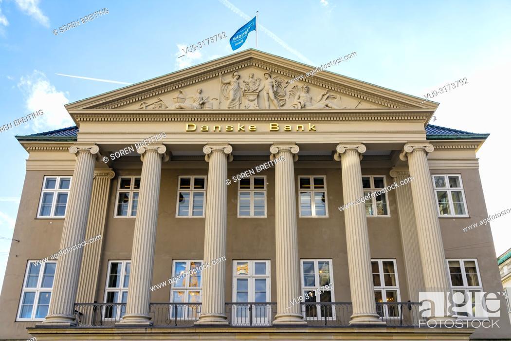 Stock Photo: Danske Bank HQ headquarter in Copenhagen, Denmark, Kongens Nytorv, - Danish Bank scandal whitewashing Russian money in its branch in Latvia.