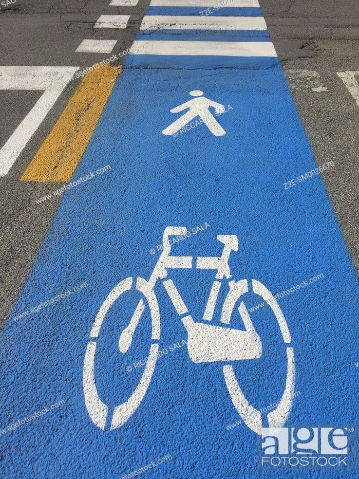 Stock Photo: Bicycle Road Sign on Asphalt. . . .