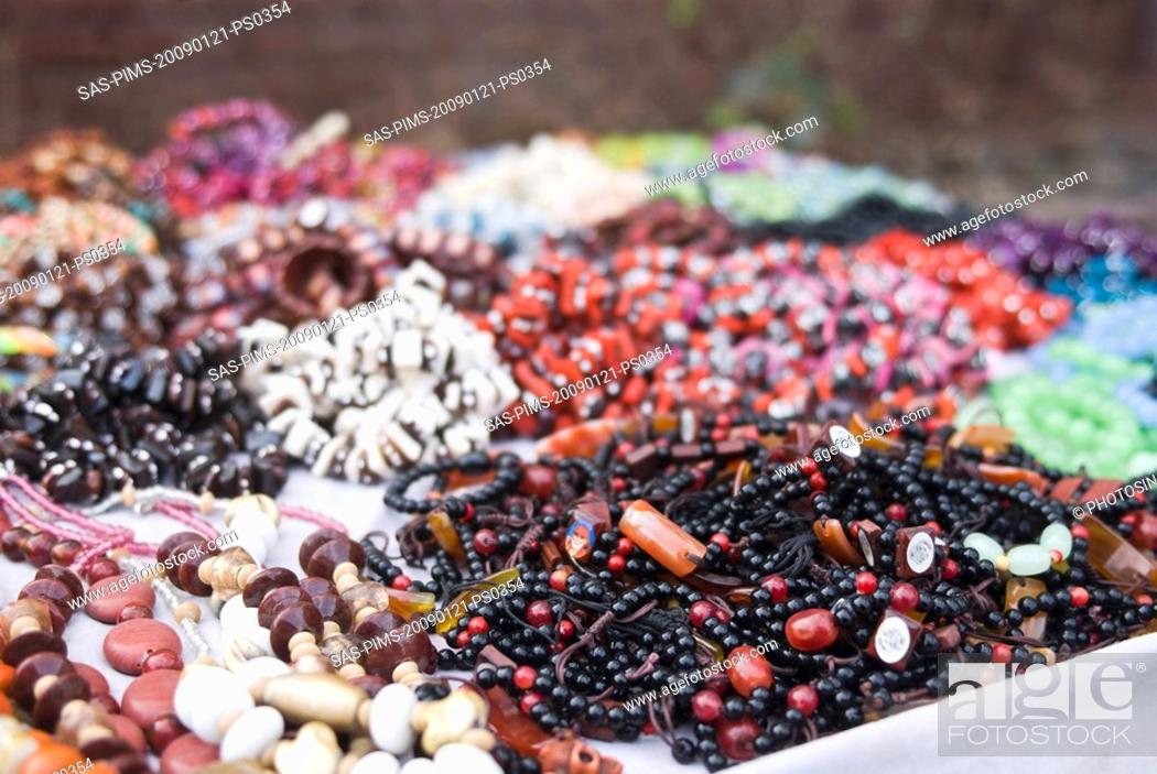 Stock Photo: Close-up of craft products at a market stall, New Delhi, India.
