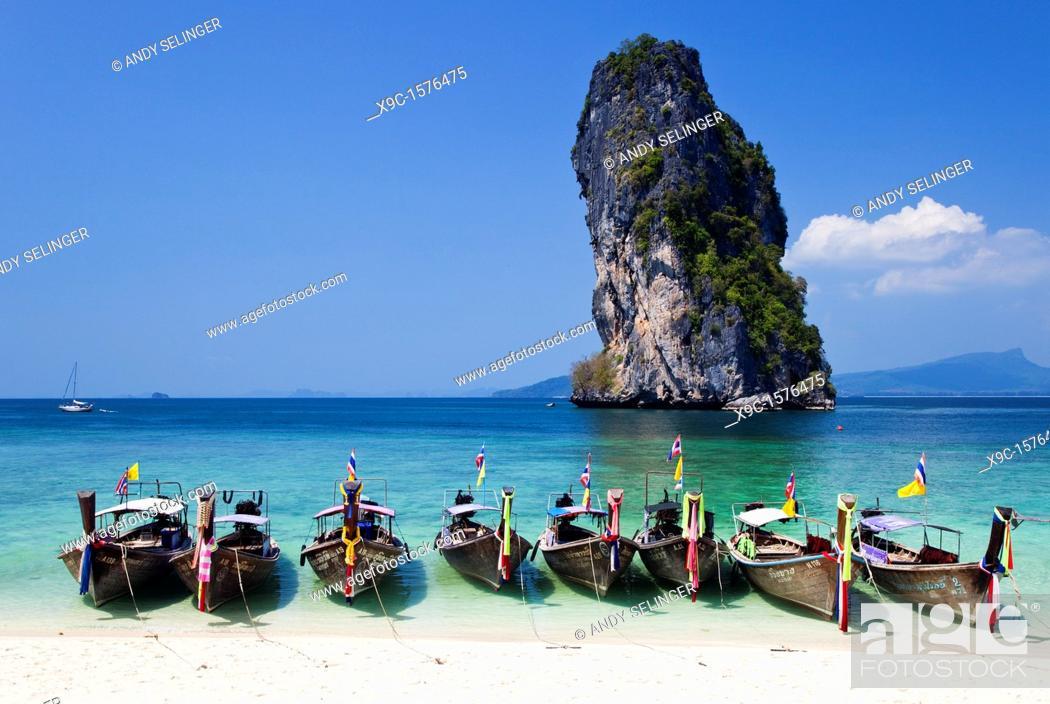 Stock Photo: Ko Taloo seen from Poda Island, Krabi, Thailand.