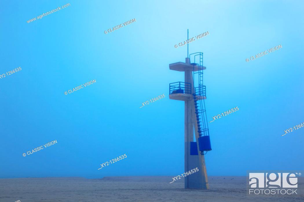 Stock Photo: Lifeguard tower on Playamar beach in off-season on foggy day  Torremolinos, Malaga Province, Costa del Sol, Spain.