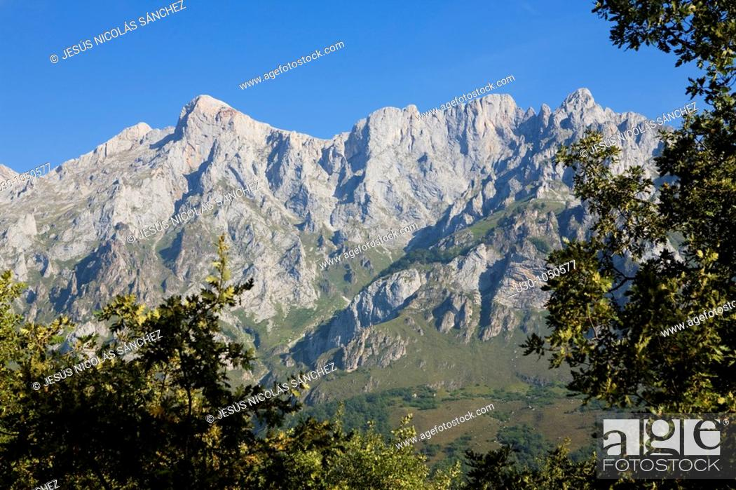 Stock Photo: Mountains of Andara Massif  Brez, in the municipality of Camaleño, in the Liébana Valley  Picos de Europa National Park  Cantabria  Spain.
