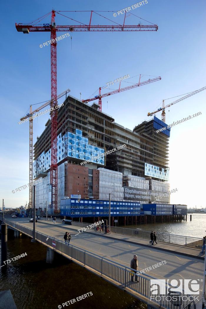 Stock Photo: Elbe Philharmonic Hall under construction, Hamburg, Germany.
