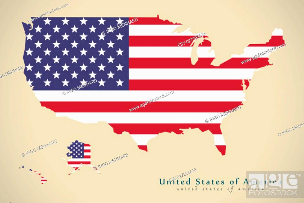 Imagen: Modern Map - United States USA with flag illustration silhouette.