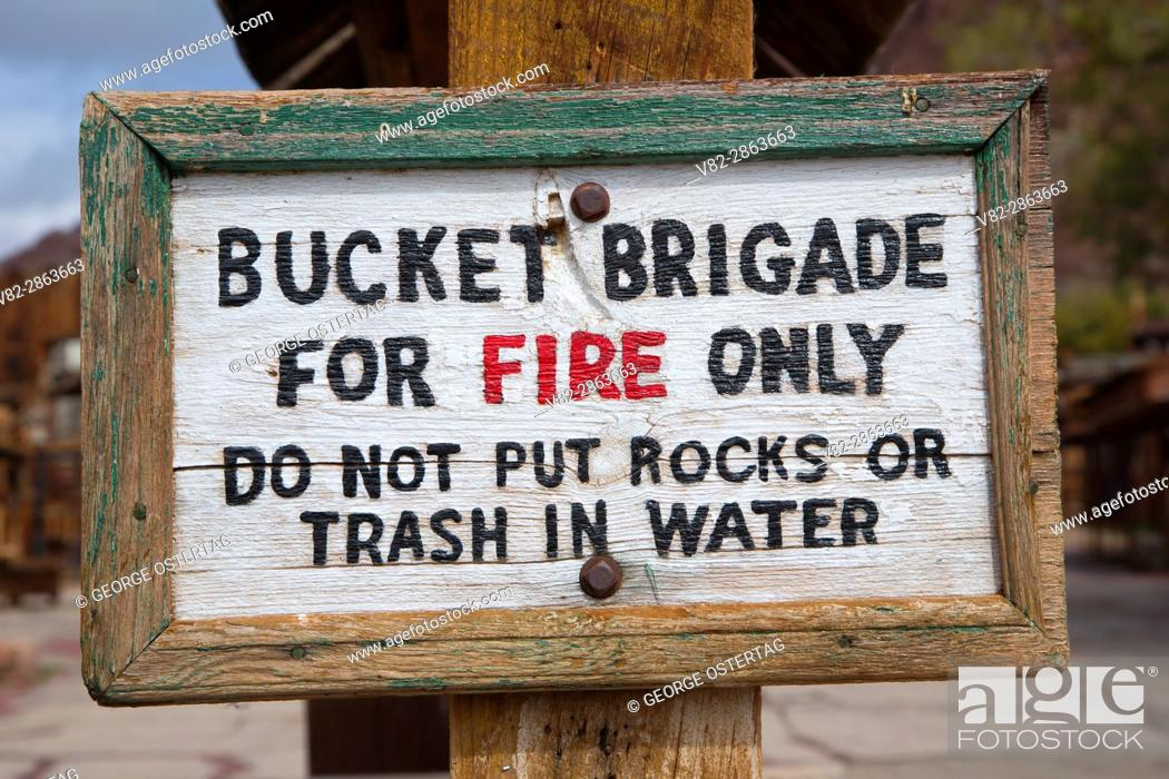 Stock Photo: Fire brigade sign, Calico Ghost Town County Park, California.