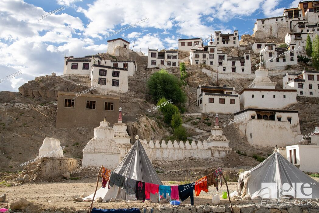 Stock Photo: view at Thiksey monastery in Ladakh, India.