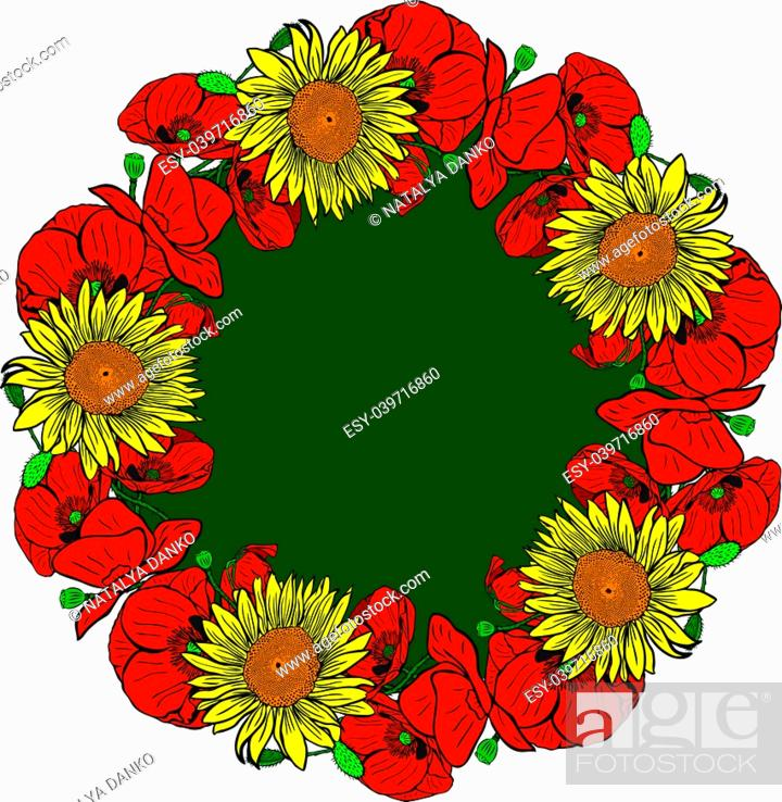 Stock Vector: wreath of red blossoming poppies and yellow sunflowers, isolated on white background, empty space in the middle.