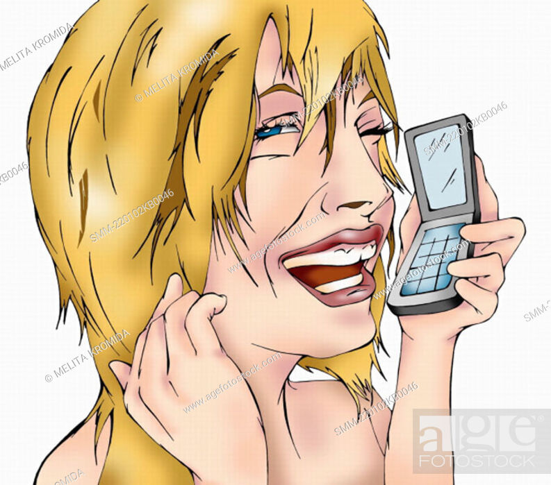 Stock Photo: Closeup of blonde woman on mobile phone.