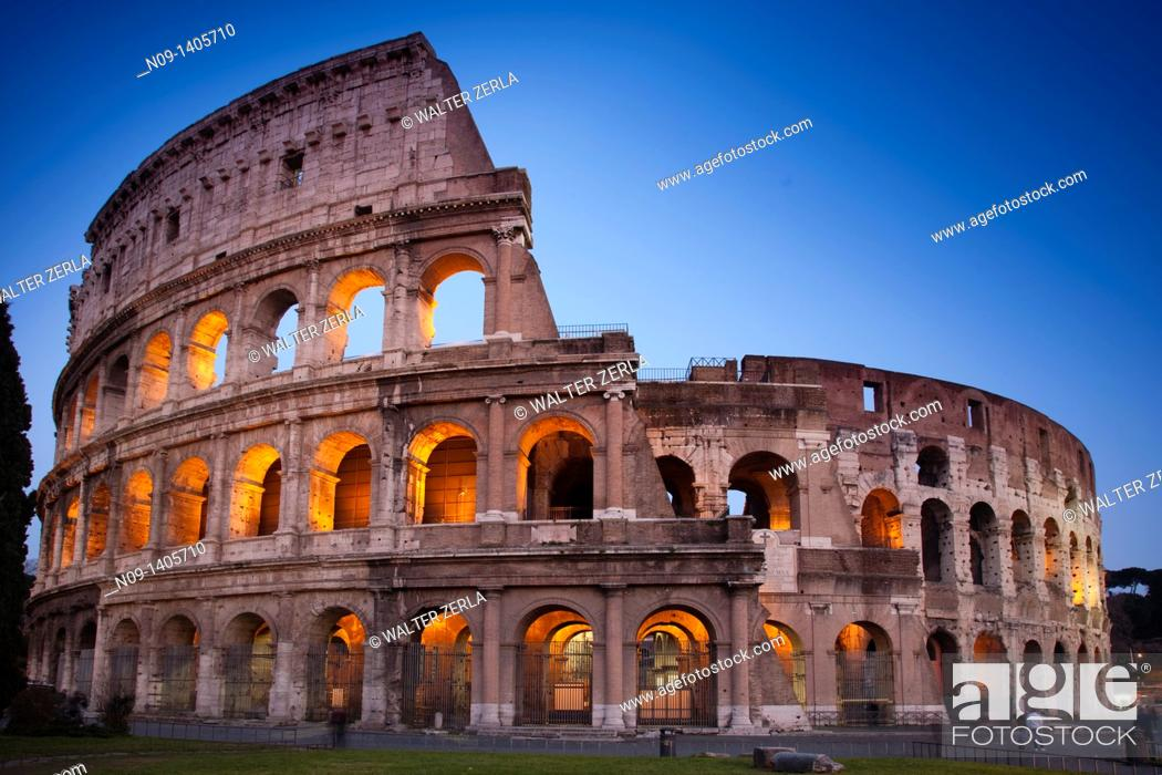 Stock Photo: Rome Colosseum at night.
