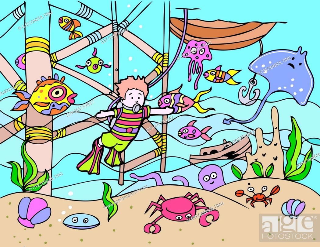 Stock Vector: Child Goes Scuba Diving.