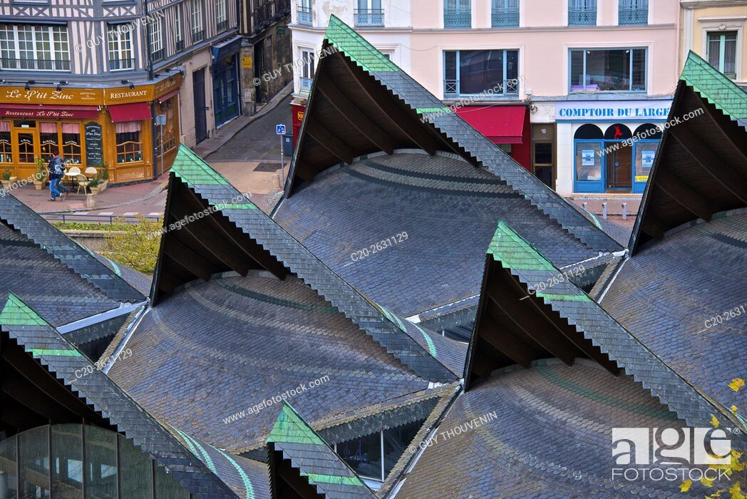 Stock Photo: Roofs of Ancient market place, Old town, Rouen, 76, Normandy, France.