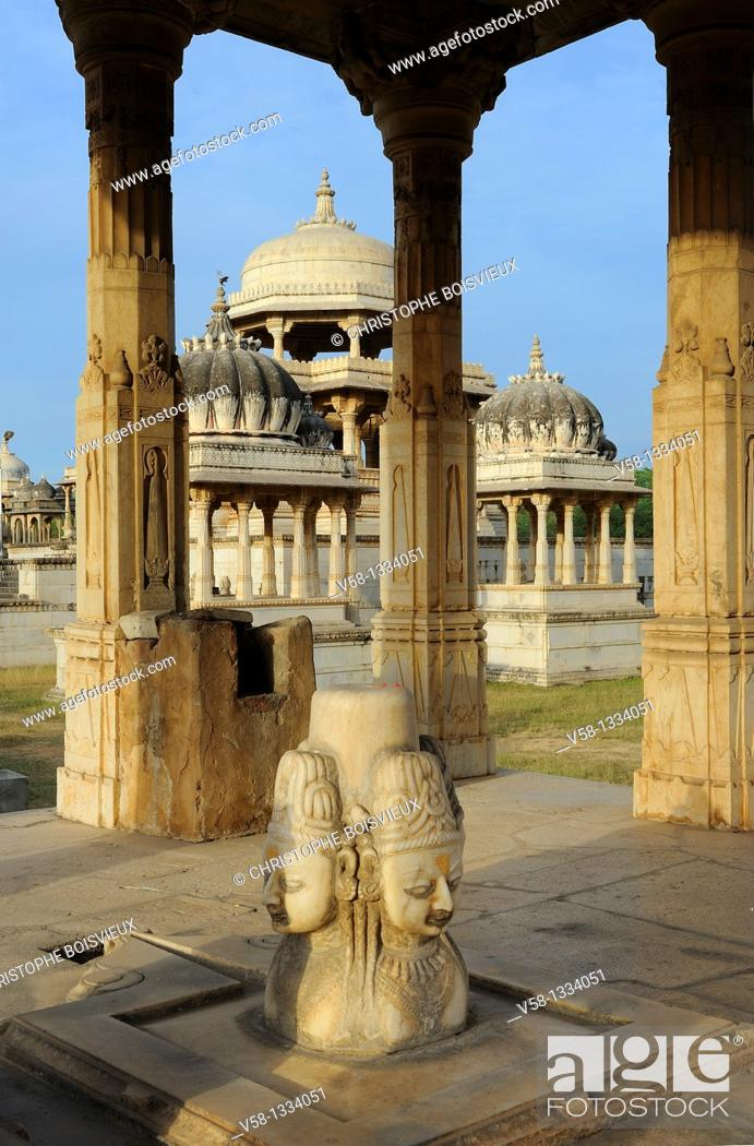 Stock Photo: India, Rajasthan, Udaipur surroundings, Ahar cenotaphs  The Ahar site contains more than 250 cenotaphs of the maharanas of Mewar that were built over.