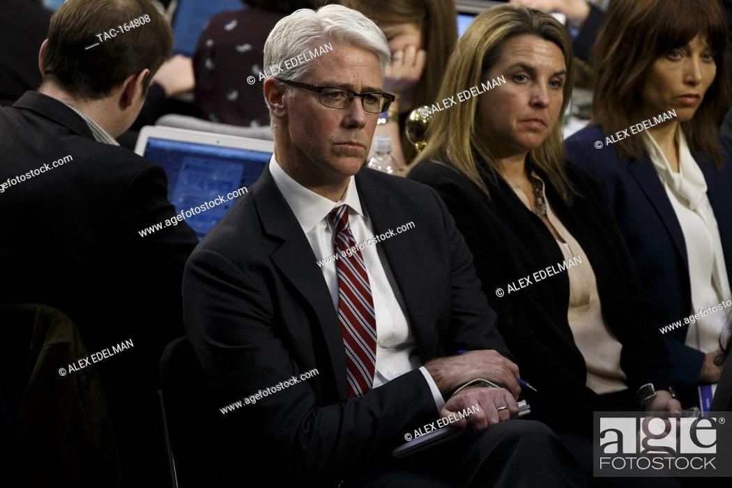 Facebook General Counsel Colin Stretch looks on as Facebook CEO Mark