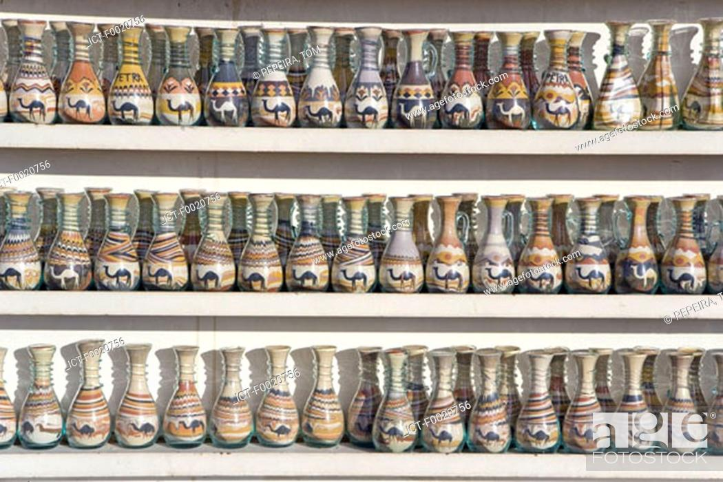 Stock Photo: Jordan, Petra, colored sand in bottles.