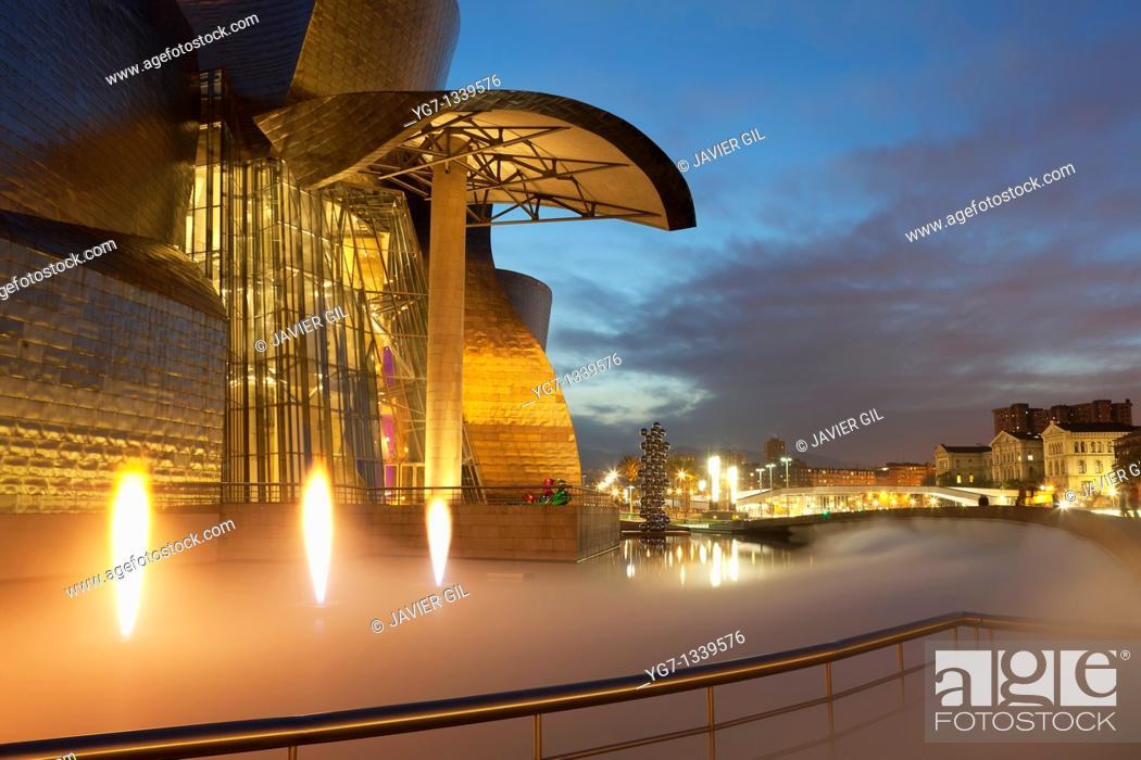 Stock Photo: Guggenheim museum, Abandoibarra, Bilbao, Bizkaia, Spain.