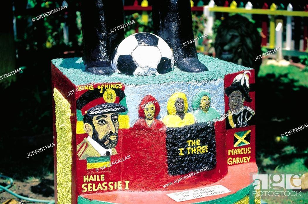 Stock Photo: Jamaica, Kingston, Bob Marley house, monument by Jah Bobby.