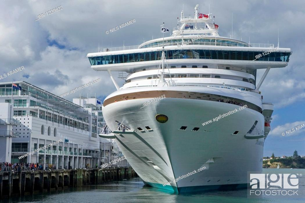 Stock Photo: Diamond Princess cruise ship in the port of Auckland, North Island, New Zealand.