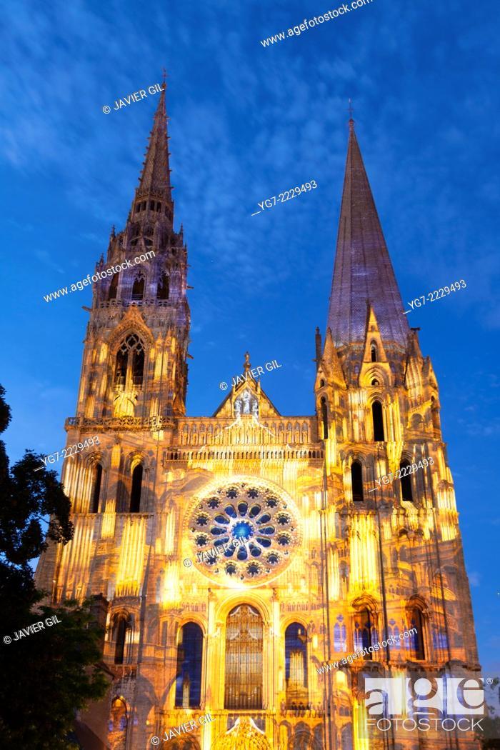 Stock Photo: 'Chartres en Lumières' spectacle, Chartres, Eure-et-Loir, Centre, France.