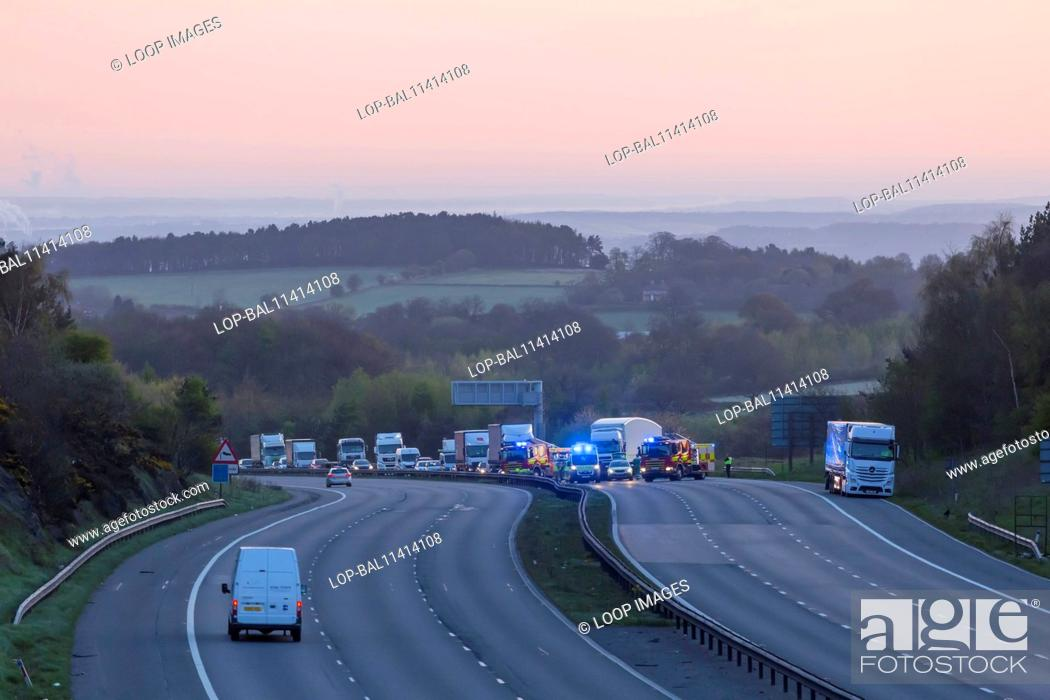 A serious accident on the M1 motorway, Stock Photo, Picture And