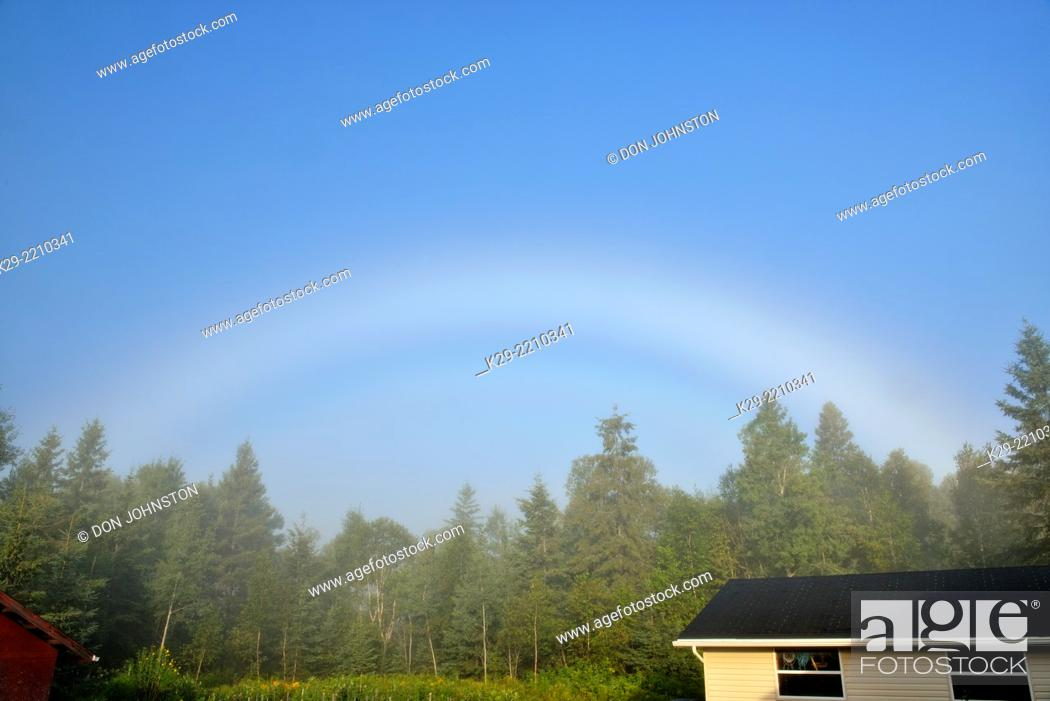 Stock Photo: A morning 'fogbow' , Greater Sudbury (Lively), Ontario, Canada.
