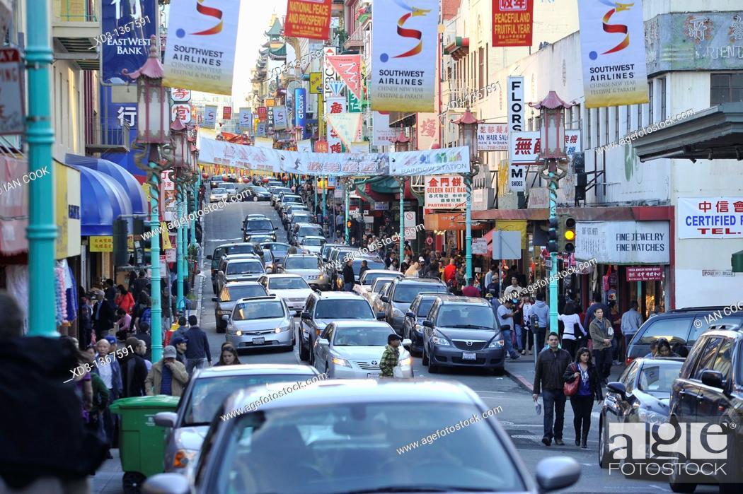 Stock Photo: Grant Street, Chinatown, San Francisco, California, USA.