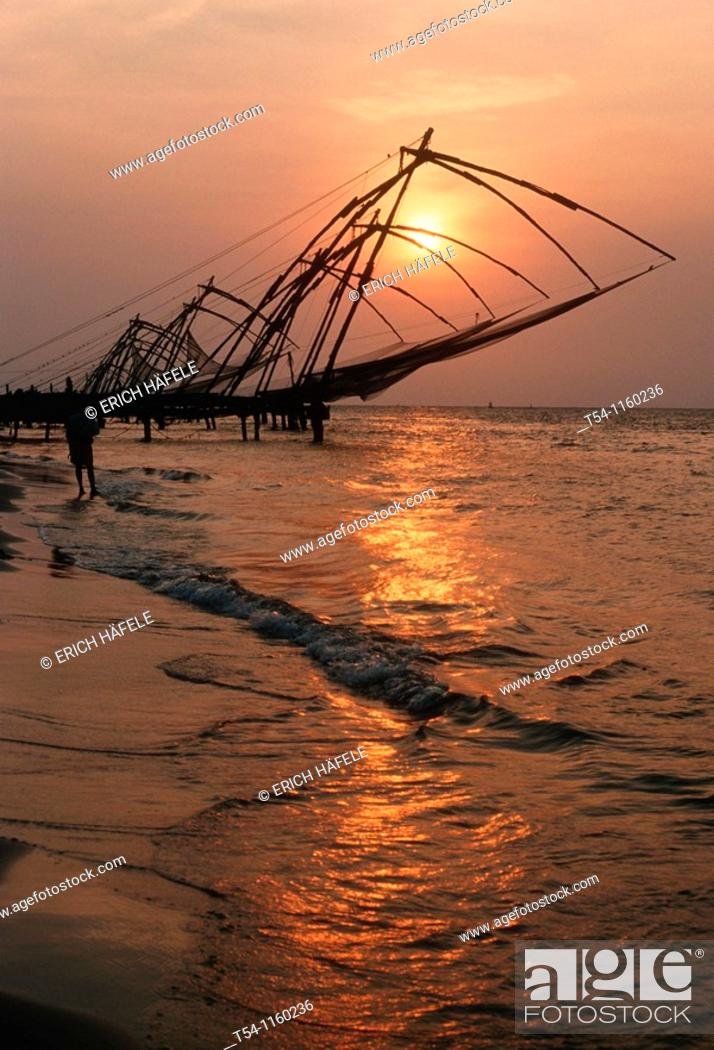 Stock Photo: Chinese fishing nets in Cochi.