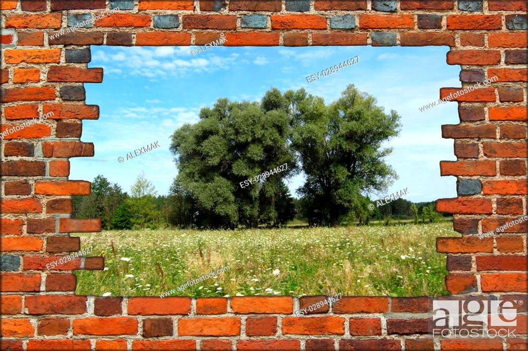 Stock Photo: broken red brick wall and view to summer landscape.