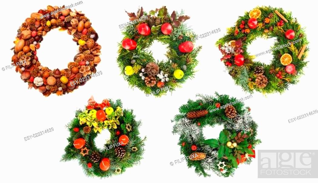 Stock Photo: Christmas wreaths.