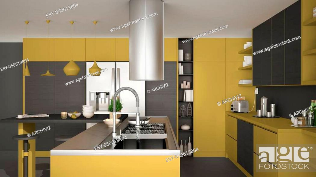 Stock Photo: Modern wooden kitchen with wooden details, close up, gas stove with cooking pan, gray and yellow minimalistic interior design.