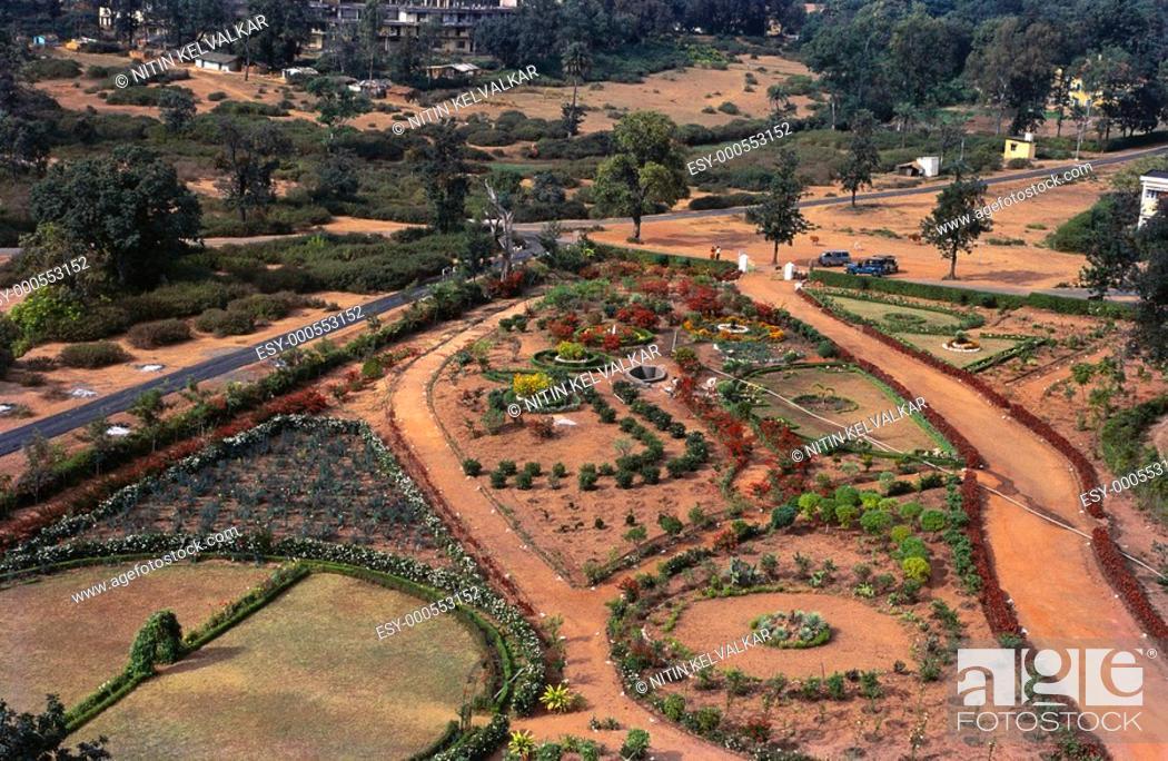 Ariel view of garden of Pachmarhi from Pandav caves , Madhya Pradesh