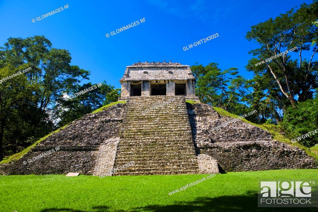 Stock Photo: Old ruins of a temple, Temple Of The Count, Palenque, Chiapas, Mexico.
