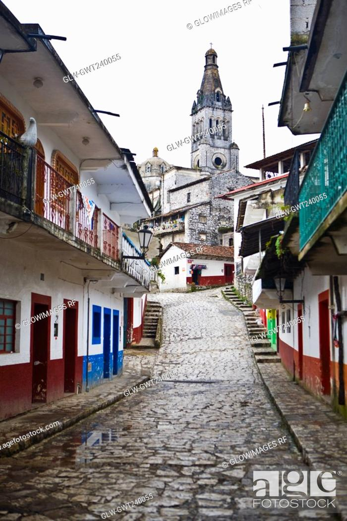 Stock Photo: Cathedral in a town, Cuetzalan, Puebla State, Mexico.