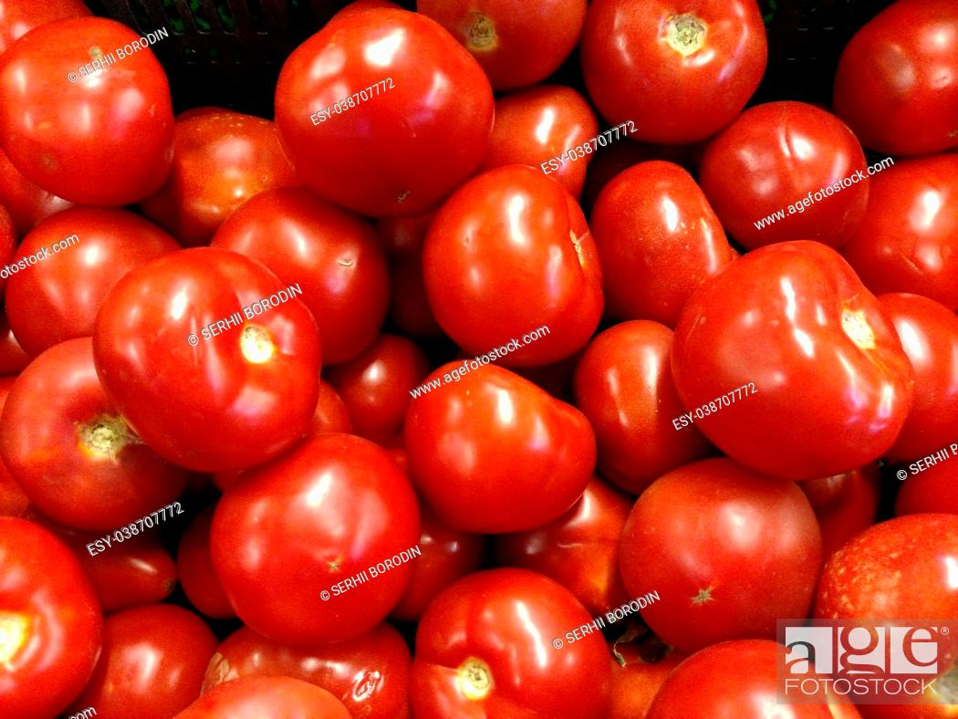 Stock Photo: Red tomatoes background. Group of tomatoes . Background for market .