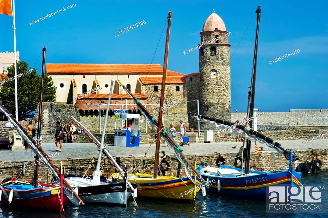 Stock Photo: Colliore, France, South of France, Beach Scene with Local Monument, Landscape, Port Scenic with Moored Sail Boats.
