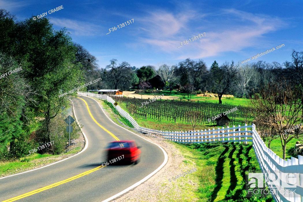 Stock Photo: Country road through the Shenandoah Valley near Plymouth, Amador County, California.