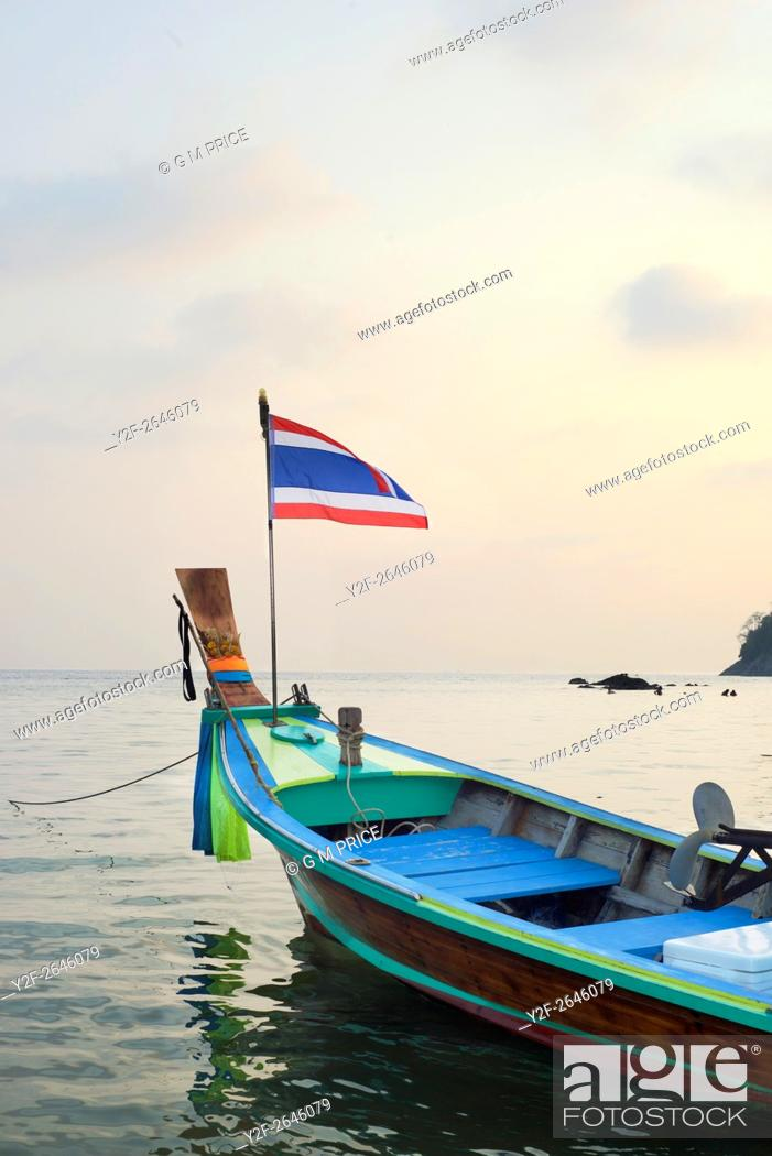 Stock Photo: fishing boat at dusk at Kata Beach, Phuket.