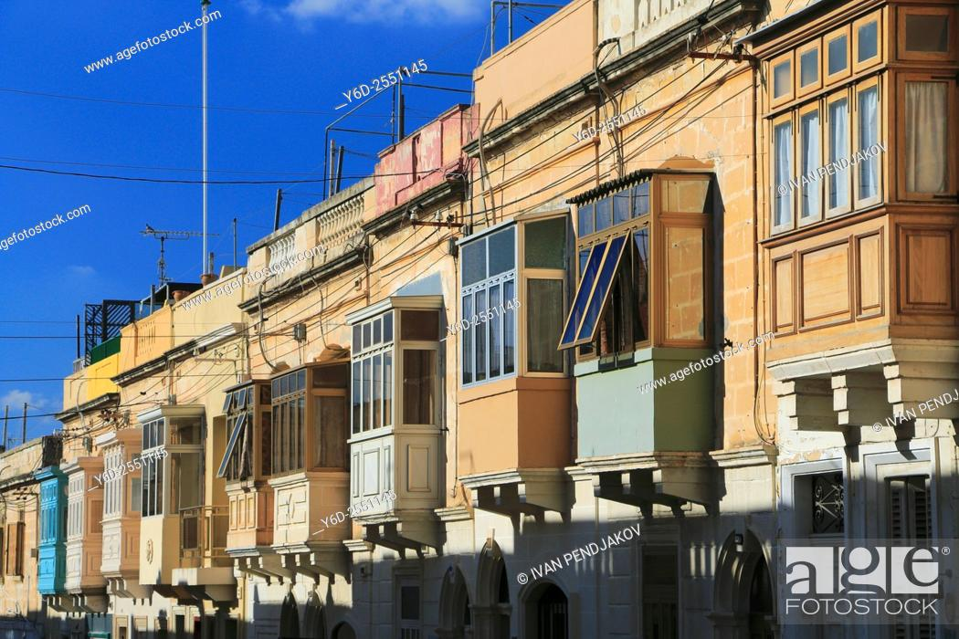 Stock Photo: Houses in Paola, Malta.