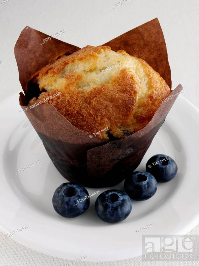 Imagen: Blueberry muffin with fruit on a white plate.