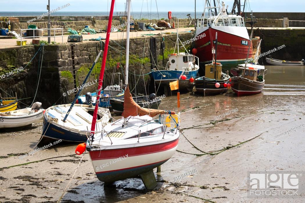 Imagen: Fishing boats tied up and yachts moored. Gourdon Harbour Scotland UK.