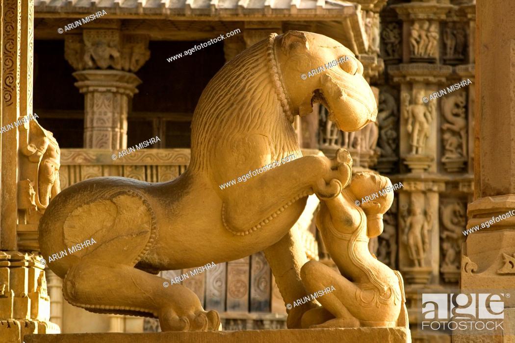 Sculpture of lion omnipresence of shardul underscores mythic