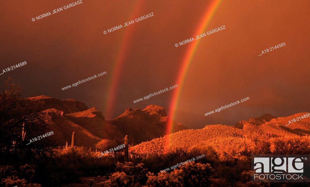 Stock Photo: A double rainbow highlights the Bear Canyon area in the Santa Catalina Mountains, Coronado National Forest, Sonoran Desert, Tucson, Arizona, USA.
