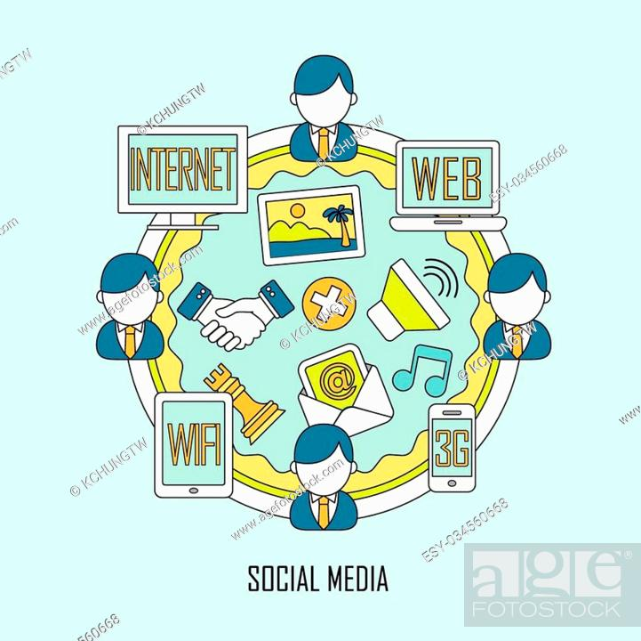 Stock Vector: social media concept in flat thin line style.